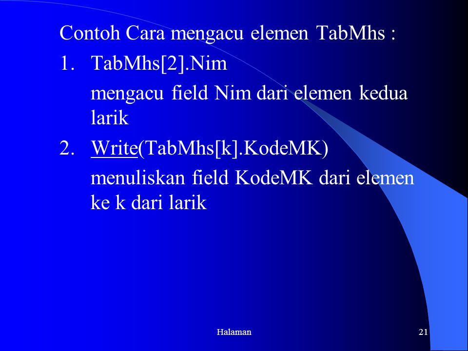 Contoh Cara mengacu elemen TabMhs : 1. TabMhs[2].Nim